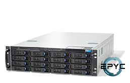 Server - Rack Server - 3U - RECT™ RS-8736R16 - 3U Rack Server with AMD EPYC Rome CPUs for up to 128 Cores