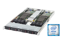 Twin / Multinode - Rack Server - RECT™ RS-8585R8-Twin - 1U Rack Server with 2 Intel Xeon E5-v4 systems and 8 hot-swap trays